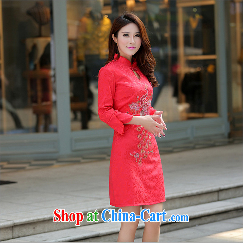 US-Iraqi advisory committee 2015 summer New and Improved stylish embroidered cheongsam dress elegant Chinese Ethnic Wind beauty graphics thin style short-sleeve dress red L