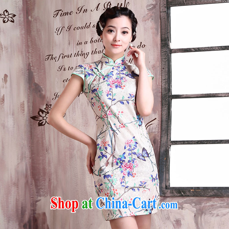 Jubilee 1000 bride 2015 new improved stylish short-day summer decoration, Ms. Load Graphics thin retro dresses X 154 photo color XXL