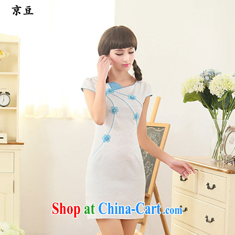 The Beijing Summer 2015 New Products fresh and literary Chinese improved cultivation embroidered graphics thin lace cheongsam girls HM - JAYT 62 blue XXL