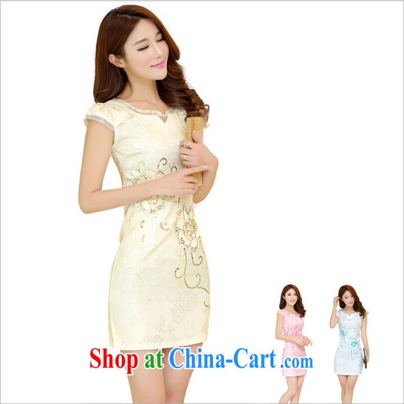 US-Iraqi advisory committee 2015 summer New and Improved stylish embroidered cheongsam dress elegant Chinese Ethnic Wind beauty graphics thin style short-sleeve dress apricot XL