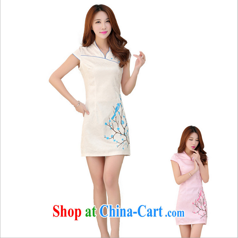 US-Iraqi advisory committee 2015 summer New and Improved stylish embroidered cheongsam dress elegant Chinese Ethnic Wind beauty graphics thin style short-sleeved gown white XL