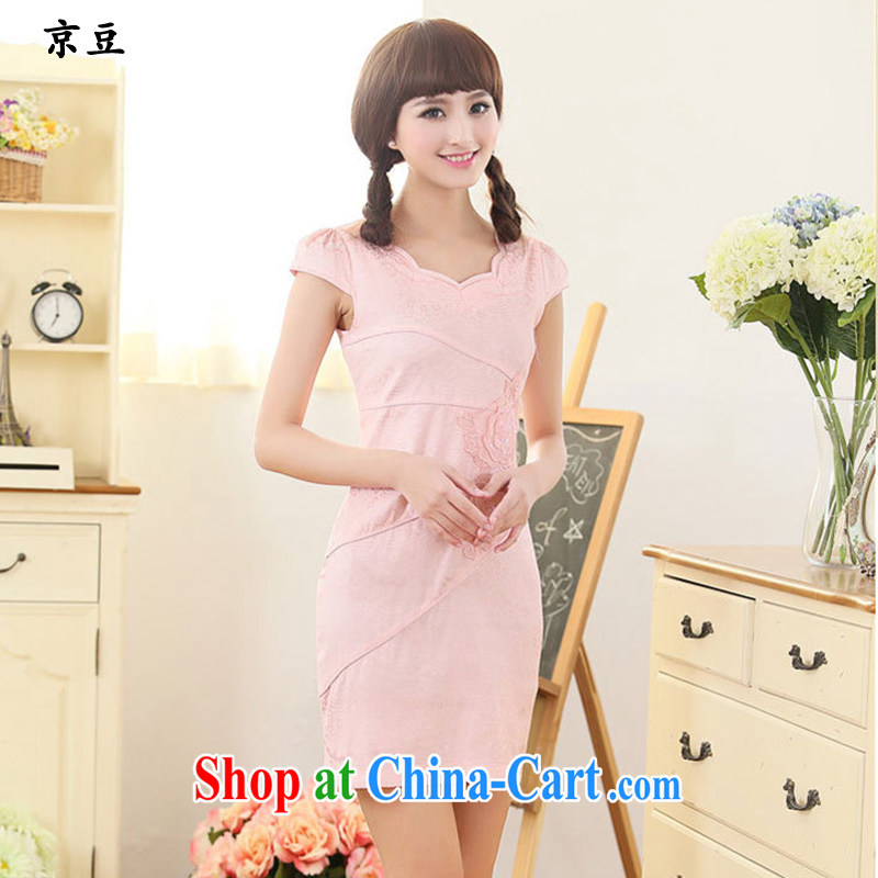 The Beijing Summer 2015 new Stylish retro short cheongsam dress fine lace daily dresses HM - JAYT 61 pink XXL