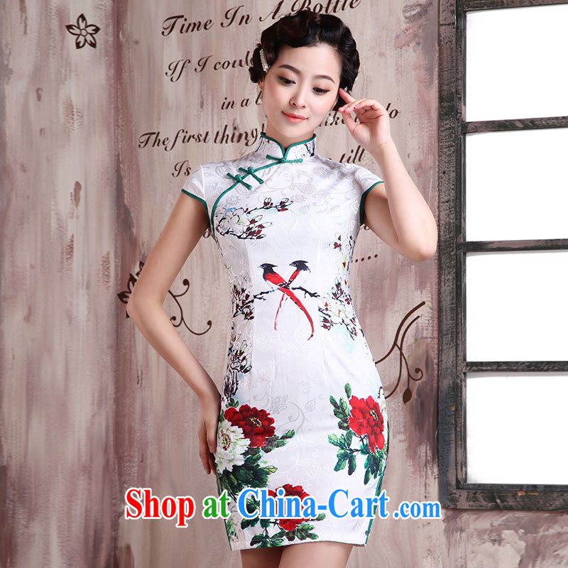 Jubilee 1000 bride's 2015 spring and summer new cheongsam dress stylish and refined antique cheongsam dress daily short Cultivating Female dresses X 2025 wooden weaving XXL