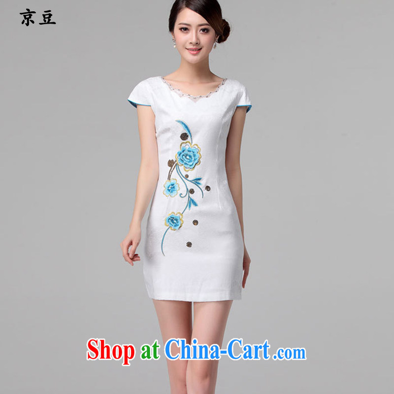 The Beijing Summer 2015 new Stylish retro short embroidered two-piece dresses dresses fine lace daily dresses HM - JAYT 60 m White XXL