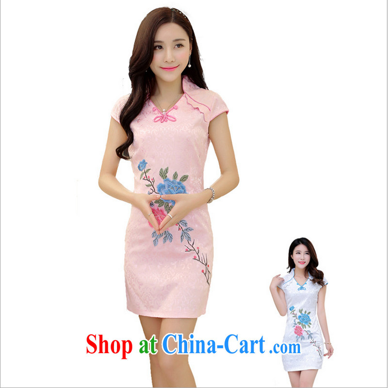 US-Iraqi advisory committee 2015 summer New and Improved stylish embroidered cheongsam dress elegant Chinese Ethnic Wind beauty graphics thin style short-sleeve dress white XL
