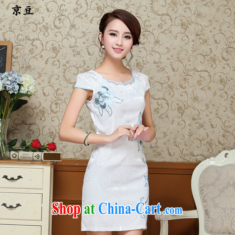 The Beijing Summer 2015 new girls dresses retro embroidery flowers daily short cheongsam dress beauty HM - JAYT 59 light blue XXL