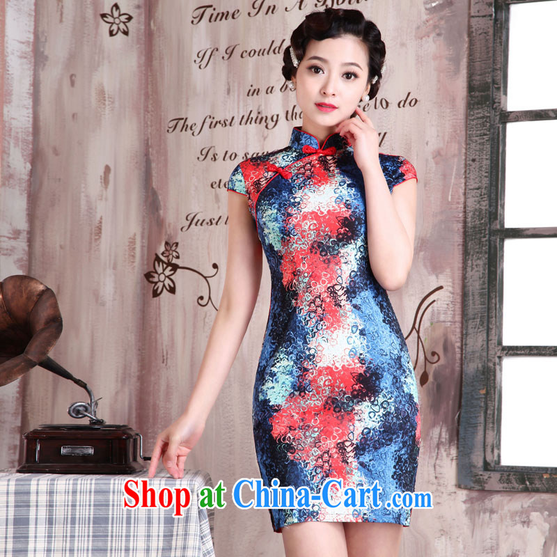 Jubilee 1000 bride's 2015 new stylish improved cheongsam Chinese spring and summer jacquard cotton retro girl daily outfit style dresses X 2079 dream-seung XXL