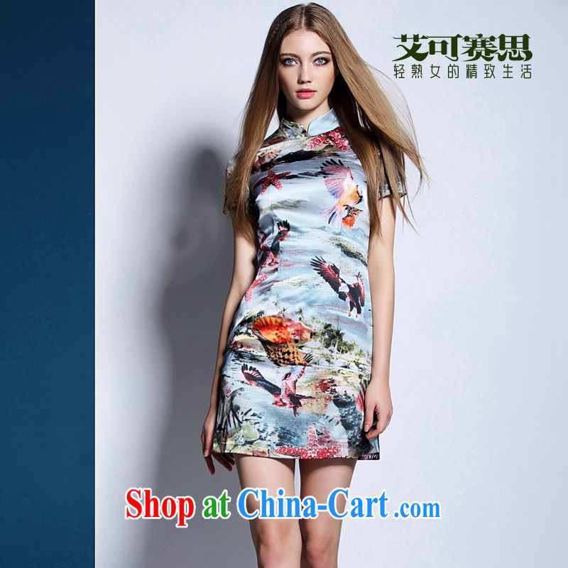 The race to the 2015 summer maximum code retro China wind cheongsam 3D dyeing shells bird pattern beauty graphics thin dresses picture color XL