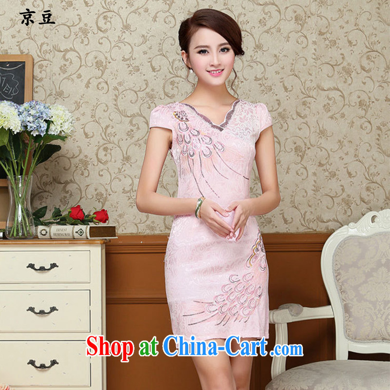 The Beijing Summer 2015 New Products lady dresses retro embroidery flowers daily short cheongsam dress beauty HM - JAYT 58 pink XXL