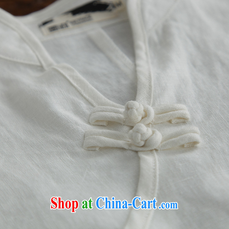 Ink 2015 spring new cotton Ma dresses Ethnic Wind Chinese units mounted on the Commission for Women linen white skirt white XXL, ink, and shopping on the Internet