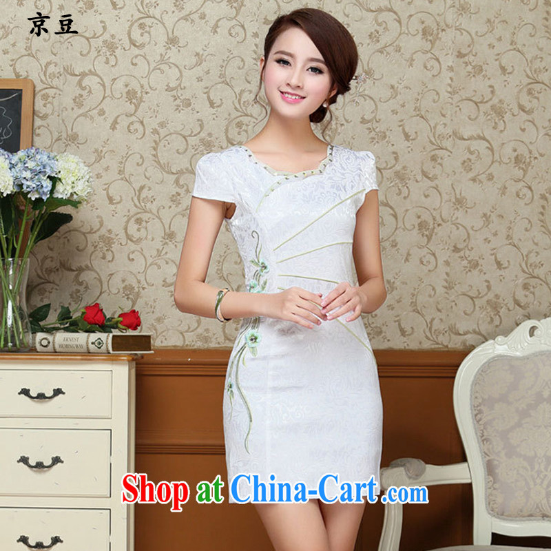 Summer 2015 New Products lady dresses retro embroidery flowers daily short cheongsam dress beauty HM - JAYT 57 light blue XXL