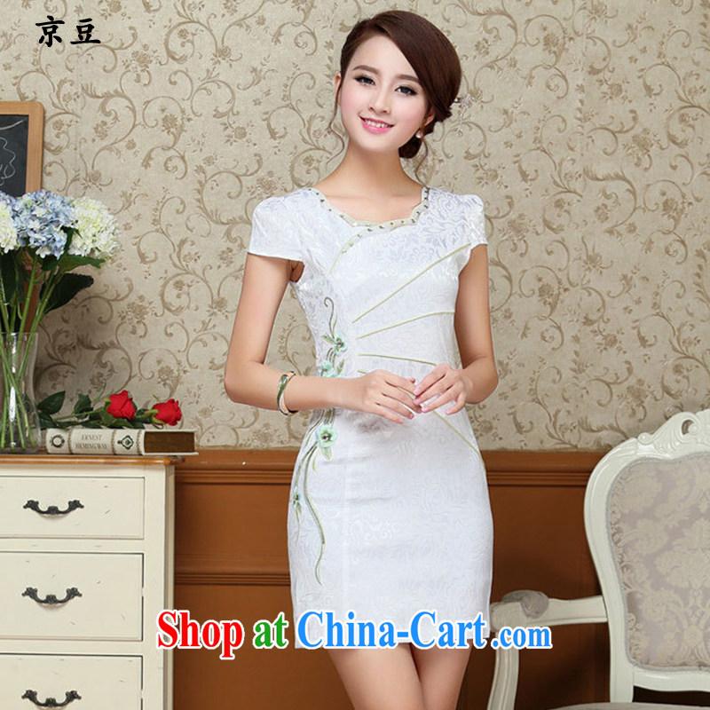 Summer 2015 New Products lady dresses retro embroidery flowers daily short cheongsam dress beauty HM - JAYT 57 light blue XXL