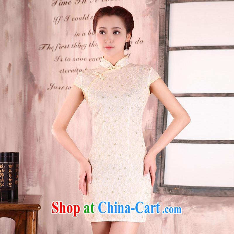 Jubilee 1000 bride 2015 new spring and summer with retro improved day-dresses summer short, cultivating the waist lace dress X 2096 pale yellow XXL