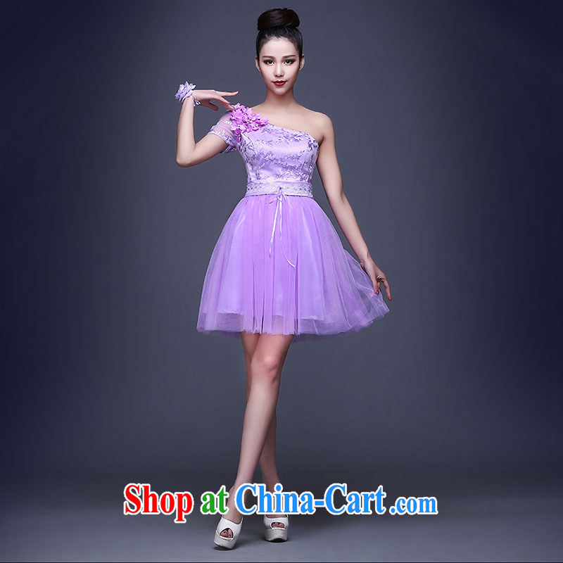 2015 summer bridesmaid dresses in short lace Korean video thin purple bridal bridesmaid sister shaggy dresses, shoulder, XXL