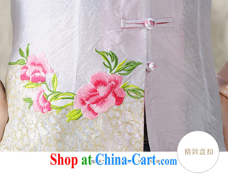 Diane honey honey 2015 new Peony embroidery Chinese, summer/Chinese improved short-sleeved T-shirt outfit white XXL pictures, price, brand platters! Elections are good character, the national distribution, so why buy now enjoy more preferential! Health