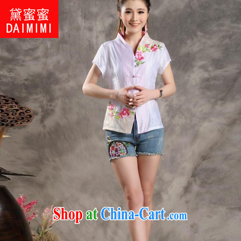 Diane honey honey 2015 new Peony embroidery Chinese ladies summer_Chinese improved short-sleeved T-shirt outfit white XXL
