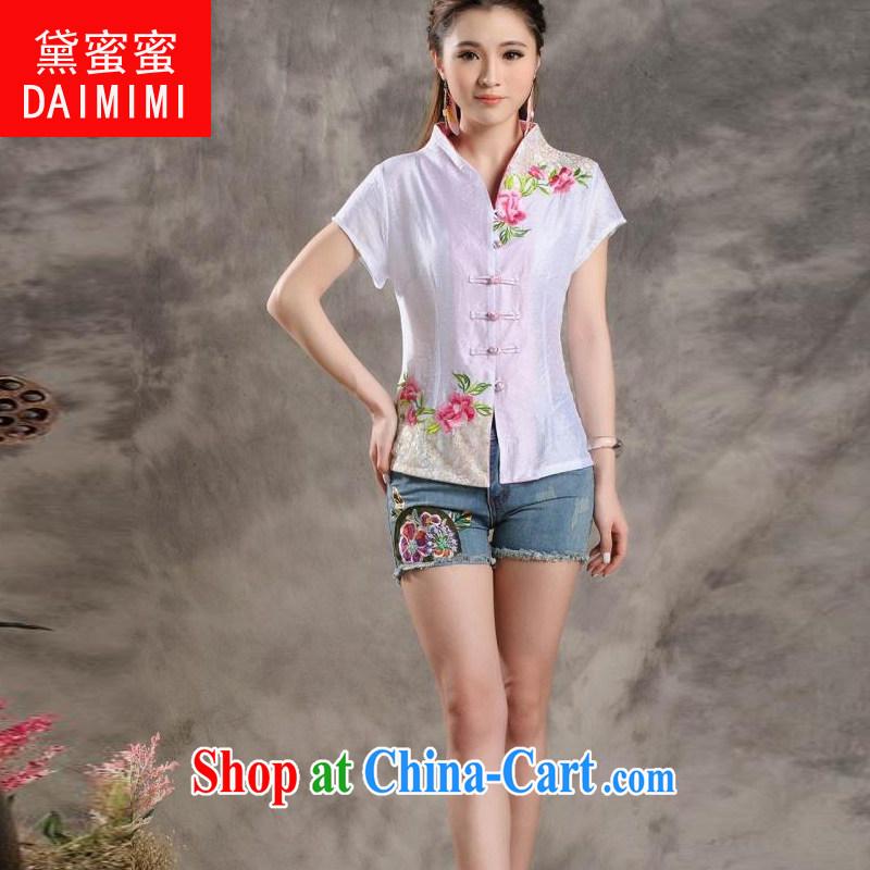 Diane honey honey 2015 new Peony embroidery Chinese, summer/Chinese improved short-sleeved T-shirt outfit white XXL, Diane honey honey (DAIMIMI), online shopping