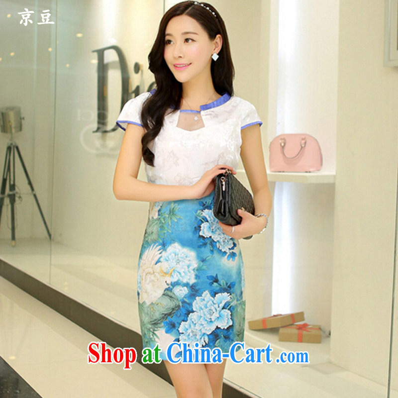 The Beijing Summer 2015 New Beauty classic qipao painting short retro HM - JAYT 55 light blue Peony XL