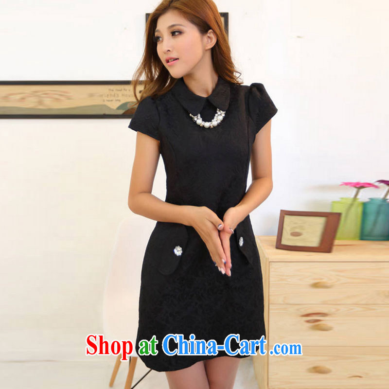 and air-ting 2015 jacquard China wind Solid Color elegance beauty dresses, girls dresses black L