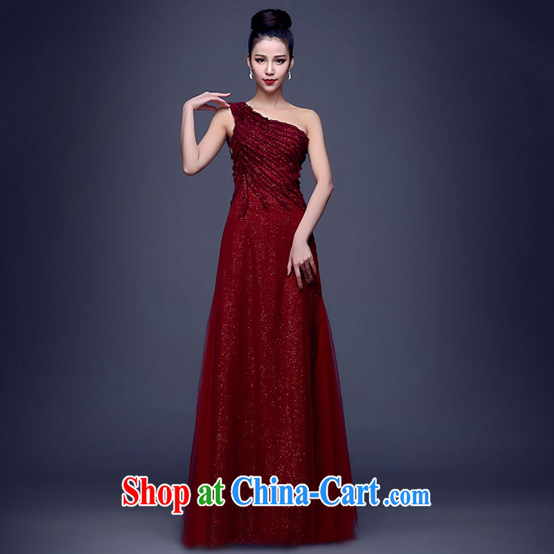 Summer 2015 new stylish Wine red dress girls long single shoulder graphics thin dress dress beauty evening dress dress wine red XXL