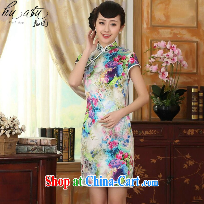 spend the summer girls dresses heavy silk retro classic sauna silk poster stretch Satin beauty double short dresses such as the color 2 XL