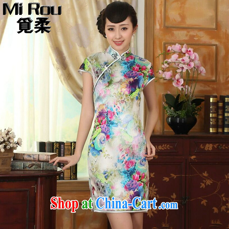 Find Sophie summer female qipao heavy silk retro classic sauna silk poster stretch Satin beauty double short cheongsam as color 2XL