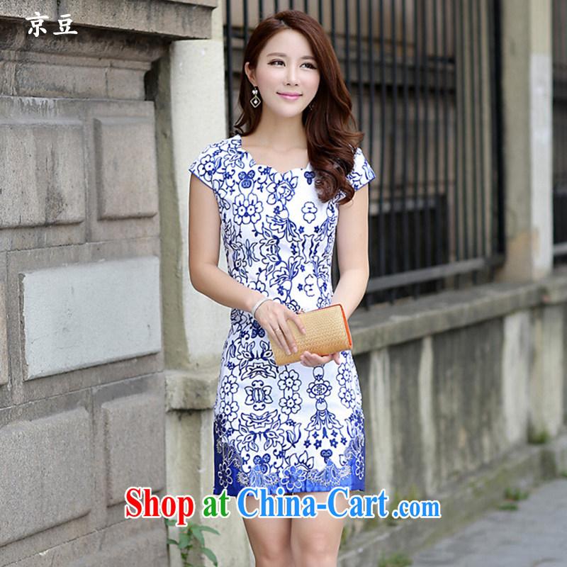 The Beijing Summer 2015 New Beauty classic cheongsam blue and white porcelain short retro dresses HM - JAYT 52 blue XL