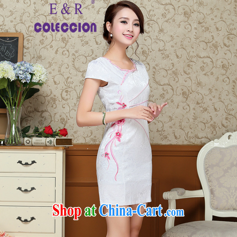 cheongsam dress summer 2015 new improved Stylish retro graphics thin beauty summer dresses short red XXL