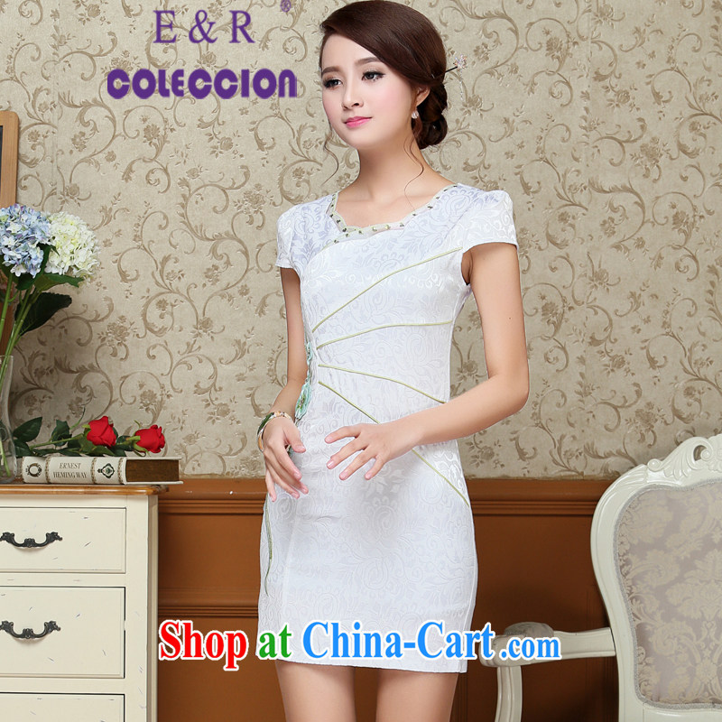 cheongsam dress summer 2015 new improved Stylish retro graphics thin beauty summer dresses, short red XXL, E &R COLECCION, shopping on the Internet