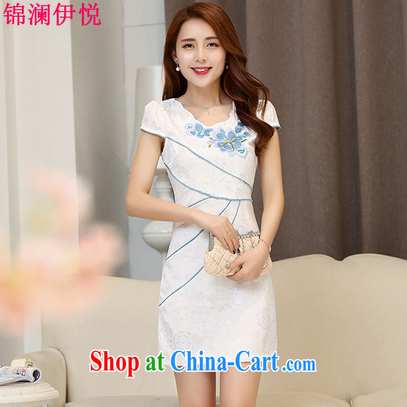 kam world the Hyatt 2015 summer dress New Beauty daily Chinese Antique short-sleeve improved stylish embroidered cheongsam dress dresses Hester Prynne XXL
