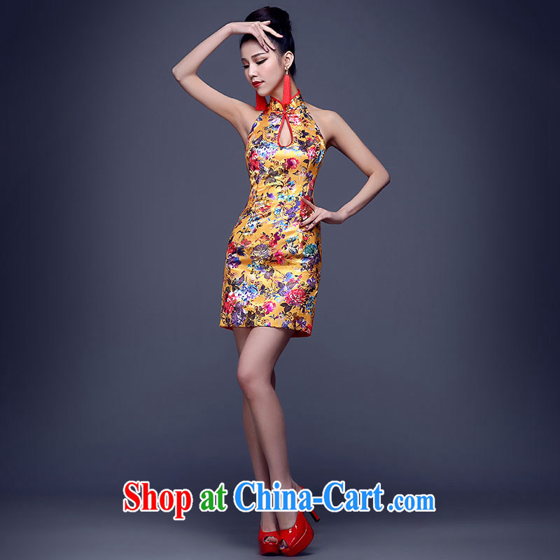 cheongsam dress spring 2015 new sexy night dress, Ms. beauty service performance improved cheongsam short summer yellow-also can be done without the not-for-