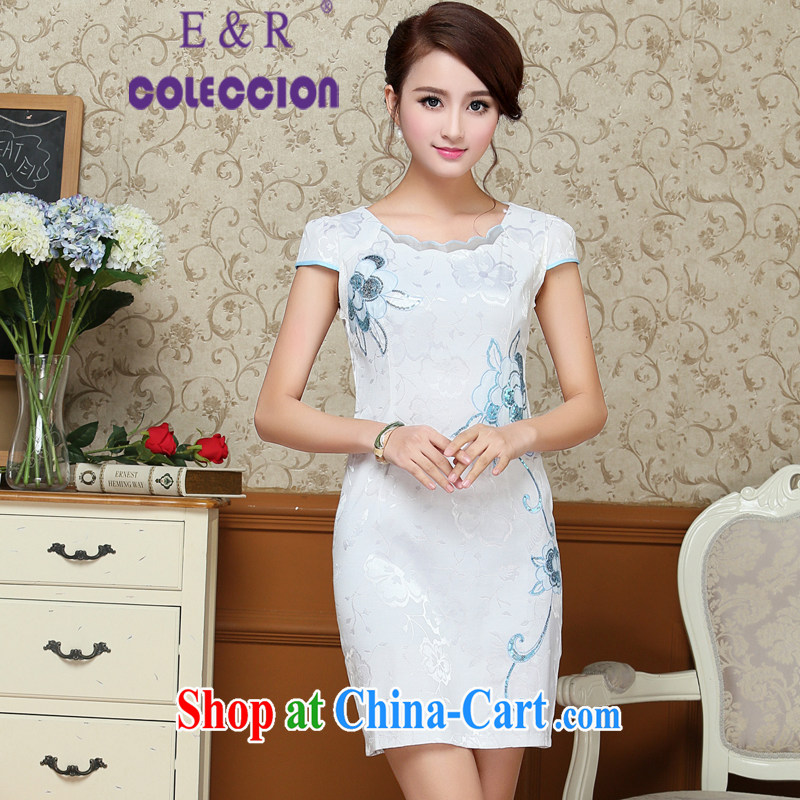 2015 summer new cheongsam exquisite petals collar embroidery damask cheongsam Chinese wind round-collar cheongsam blue XL
