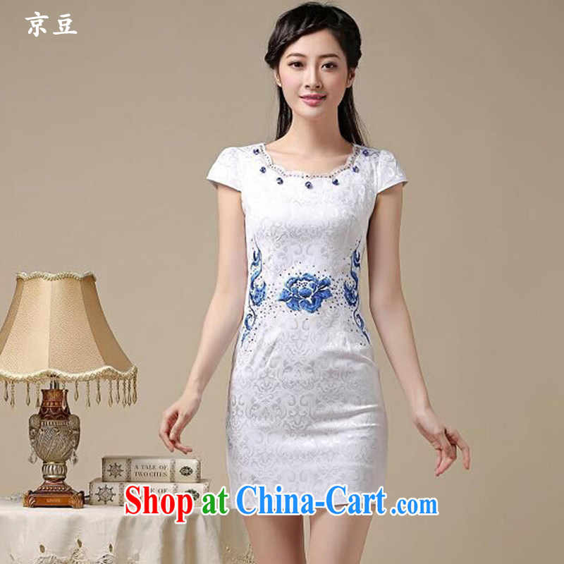 The Beijing Summer 2015 new stylish and refined beauty antique embroidered Chinese qipao Ms. dresses HM - JAYT 50 Blue on white flower XXL
