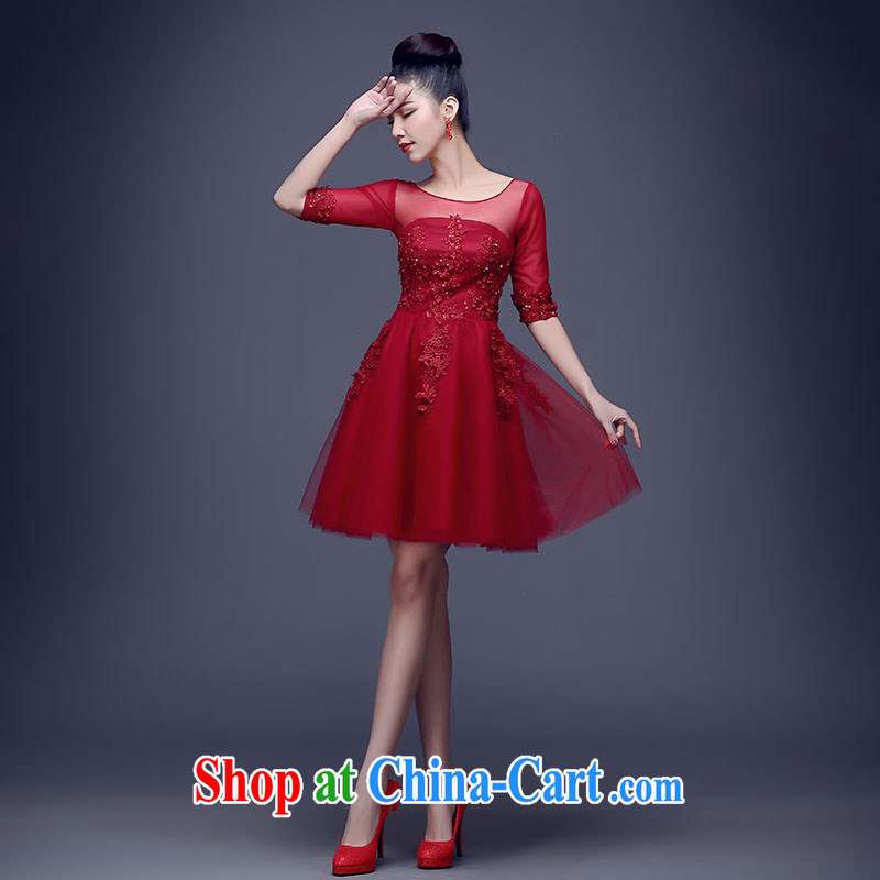 Bridal toast clothing spring 2015 new wedding dresses small short evening dress red short-sleeved toast clothing wedding dresses summer performances, service manual staple Pearl atmospheric wine red the cuff can be done without the not-for-