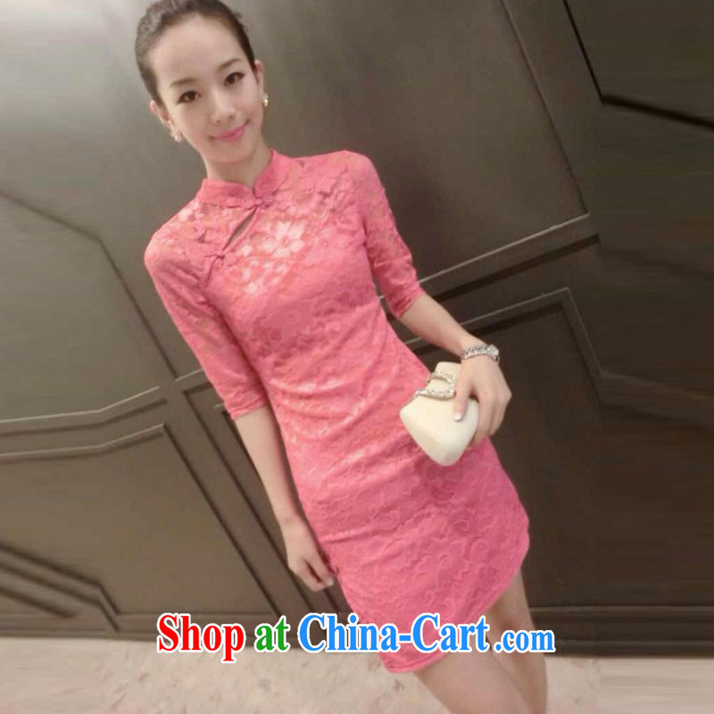 and aviation-ting 2015 European site new lace beauty graphics thin cheongsam dress pink XL