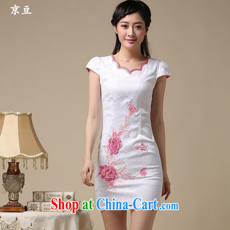 The Beijing Summer 2015 new stylish and refined beauty antique Chinese qipao Ms. dresses embroidered graphics thin HM - JAYT 39 white saffron XXL