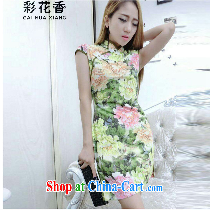 Colorful Flowers 2015 new retro sexy night dress the forklift truck graphics thin beauty package dresses and tight dresses 3217 yellow L