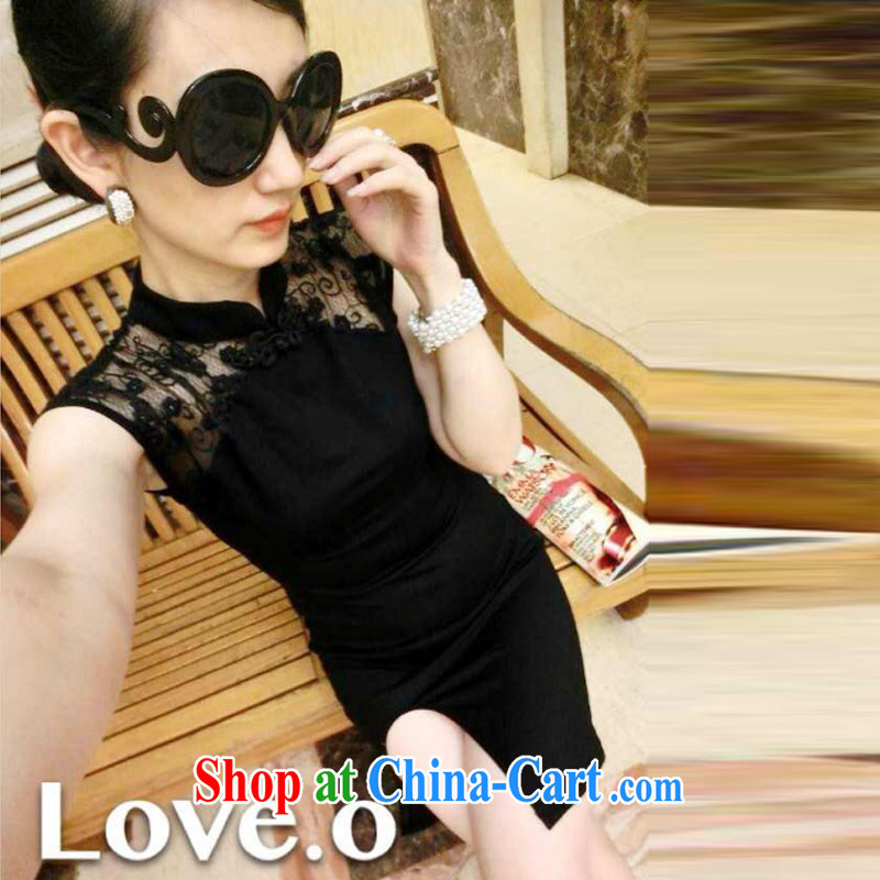 Lin's flowers 2015 new European and American-feminine 10 foot lace fluoroscopy the forklift truck cheongsam dress black are code