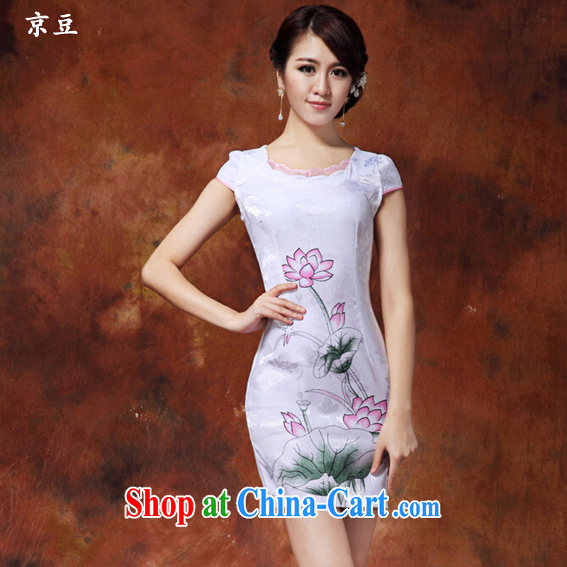 The Beijing Summer 2015 new cheongsam dress improved stylish beauty painting Lotus cheongsam dress daily short dresses female HM - JAYT 36 white XXL