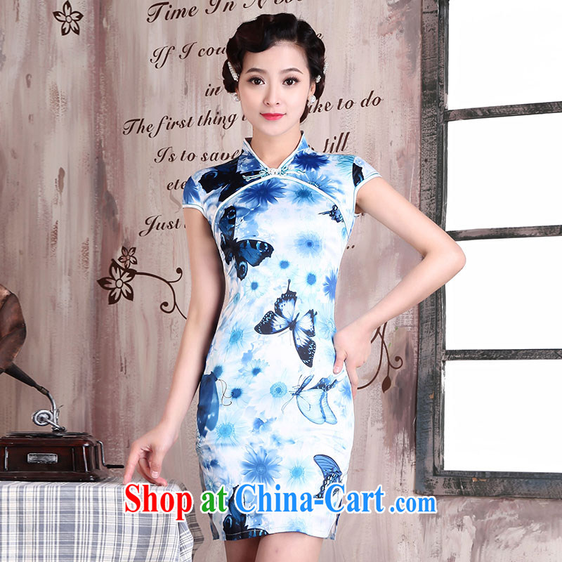 Jubilee 1000 bride spring 2015 new improved stylish short daily outfit decorated in summer, Ms. Load Graphics thin retro dresses X 160 blue XXL