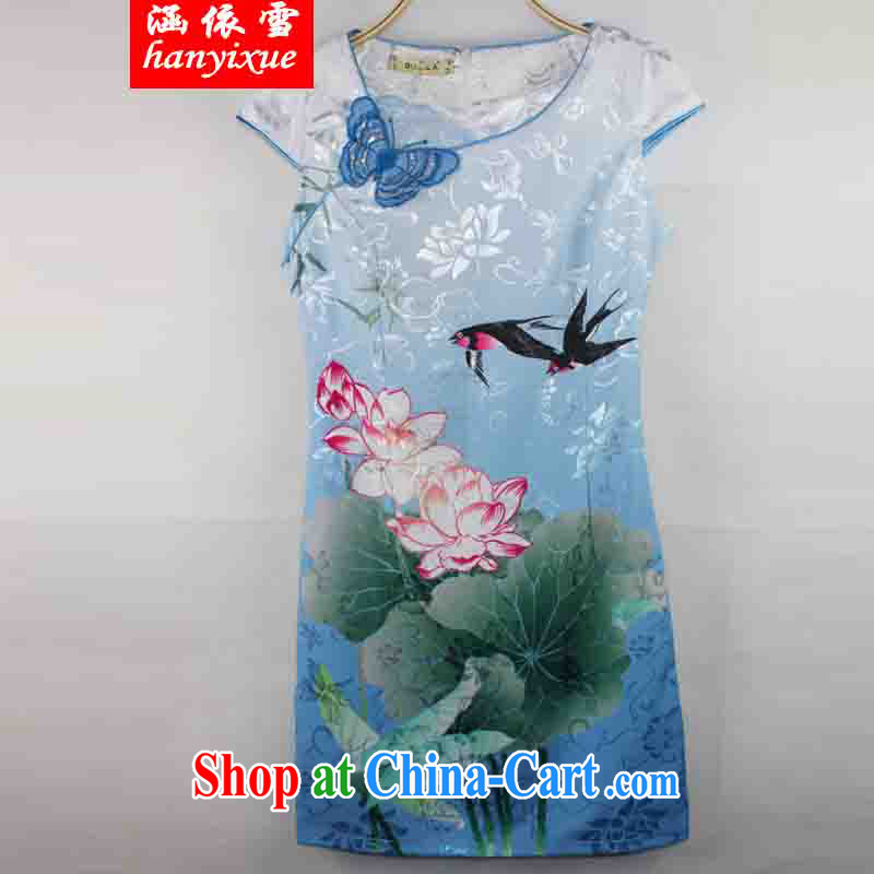 covered by snow in 2015 new dresses and stylish Lotus the gradient improved fashion cheongsam dress summer Beauty Fashion Color Blue XXL