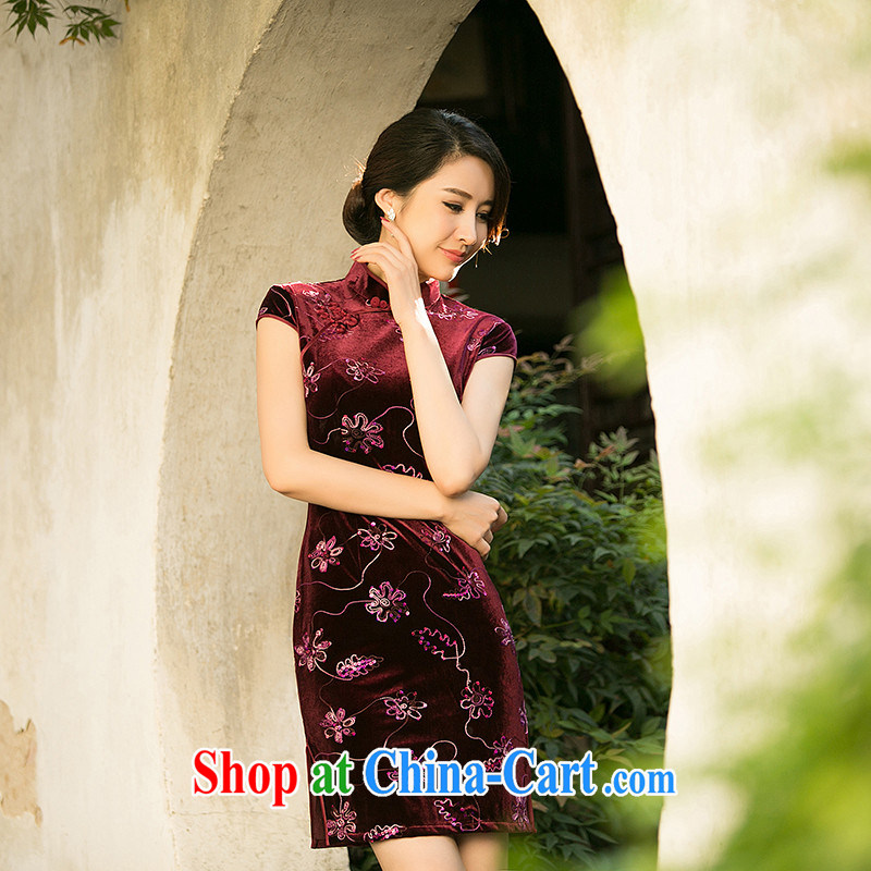 The Yee-SA to shadow new spring and summer retro improved daily cheongsam dress scouring pads stamp duty cheongsam dress cheongsam dress ZA 076 red L