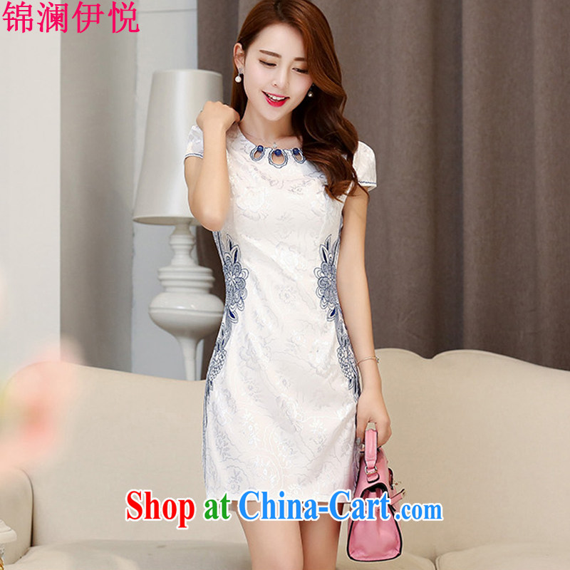 kam world the Hyatt 2015 summer new female popular beauty graphics thin retro embroidered dresses cheongsam style ladies short skirt and white blue XXL