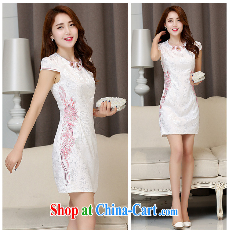 kam world the Hyatt 2015 new spring and summer with blue and white porcelain beauty retro improved modern day Ms. cotton short cheongsam dress White Red XXL pictures, price, brand platters! Elections are good character, the national distribution, so why buy now enjoy more preferential! Health