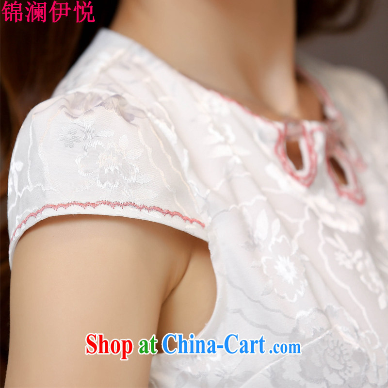 kam world the Hyatt 2015 new spring and summer with blue and white porcelain beauty retro improved stylish everyday cotton, short cheongsam dress White Red XXL, Kam world, Yue, and shopping on the Internet