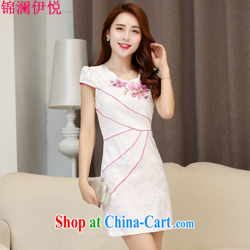 Kam-world the Hyatt 2015 new dresses spring and summer is short, short-sleeved retro embroidery dresses improved cultivating everyday dress stylish skirt and white red XXL
