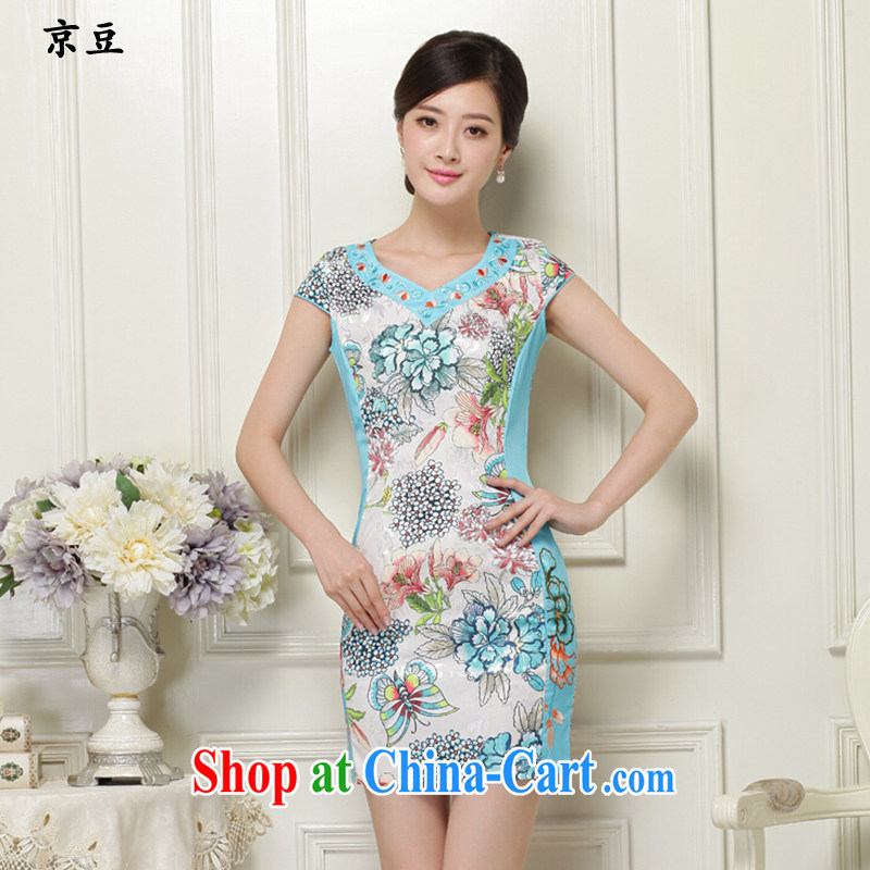 The Beijing Summer 2015 new dresses and stylish beauty cheongsam dress daily short retro dresses girls embroidered HM - JAYT 31 green XXL