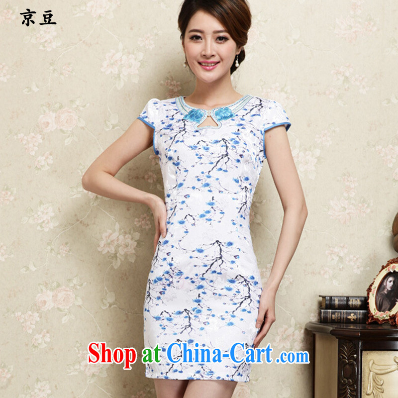 The Beijing Summer 2015 new cheongsam dress improved stylish beauty cheongsam dress daily short retro dresses female HM - JAYT 30 blue XXL