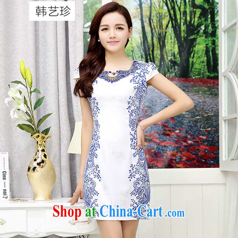 Han Ye-jin summer 2015 new female cheongsam dress retro dresses skirt package and cultivating graphics thin dress style modern white blue XXL