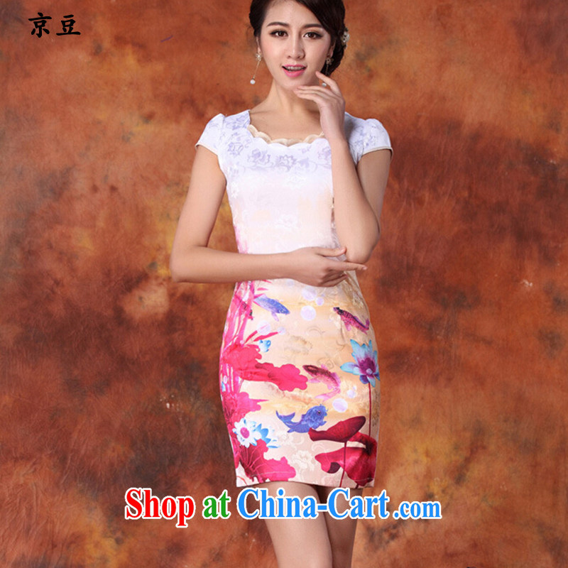 The Beijing Summer 2015 new cheongsam dress stylish beauty cheongsam dress daily short retro ink dresses female HM - JAYT 29 red XXL